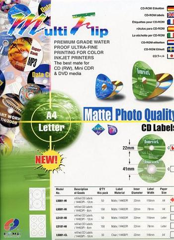 vcdr-002 BOMA CD/DVD nálepky 50ks A4 Multi Flip LS001-HI