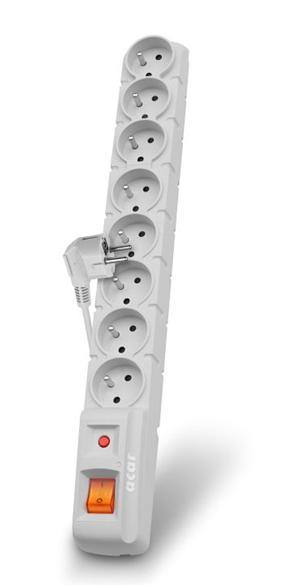 Acar S8 1.5m kabel, 8 zásuvek, přepěťová ochrana, bílá