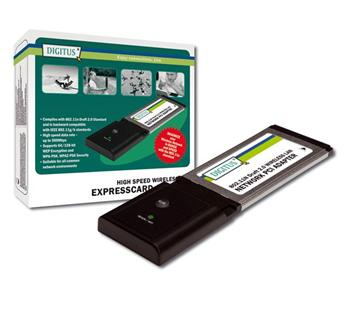 DN-7052 DIGITUS Wireless 300N ExpressCard, 300MbpsIEEE 802.11n, 128-Bit WEP, WPA, WPA2 encryption Ralink 2T/3R,Win2000/XP/VIST