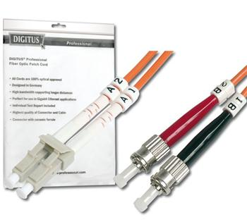 DK-2531-02 DIGITUS Fiber Optic Patch Cord, LC to STMultimode 50/125 µ, Duplex Length 2m