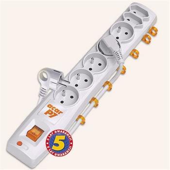 ppacarp7-3 Acar P7 3m kabel, 5+2 zásuvek, přepěťová ochrana, bílá