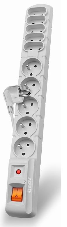 Acar S10 3m kabel, 5+5 zásuvek, přepěťová ochrana, bílá