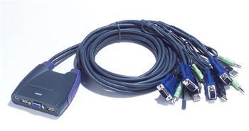 CS-64US ATEN 4-port KVM USB mini, audio, 0,9m integrované kabely