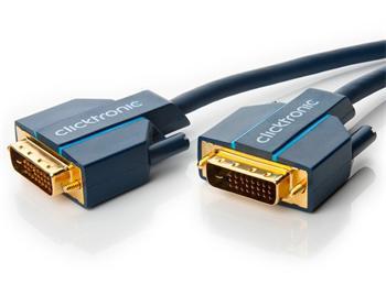 CLICK70339 ClickTronic HQ OFC kabel DVI-D(24+1) male <> DVI-D(24+1) male, Dual Link, 20m