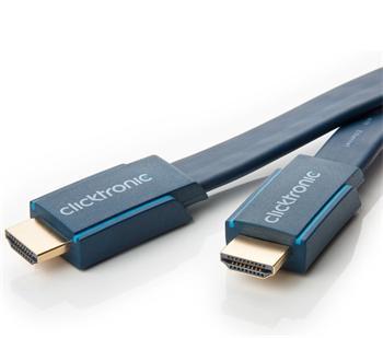 ClickTronic HQ OFC kabel HDMI High Speed s Ethernetem, zlacené, plochý kabel 3D, 1m