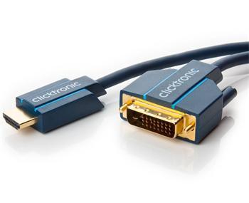 CLICK70343 ClickTronic HQ OFC kabel HDMI male <> DVI-D male (24+1), zlacené, 5m