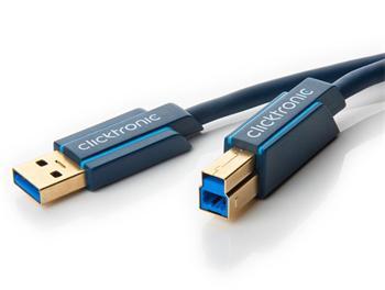 CLICK70090 ClickTronic HQ OFC USB3.0 kabel, A-B, zlacené konektory, 0,5m