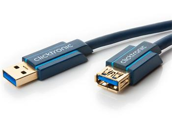 CLICK70120 ClickTronic HQ OFC prodlužovací USB3.0 kabel, A-A, zlacené konektory, 3m