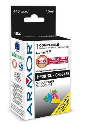 K20416 ARMOR ink-jet pro HP, 3 barvy HC, 16ml, No. 301XL, CH564EE