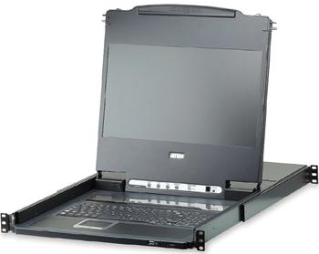 "CL-6708MW ATEN 8-port KVM USB, DVI, OSD,Single Rail rack, 17.3"" FHD LCD, touchpad, klávesnice"