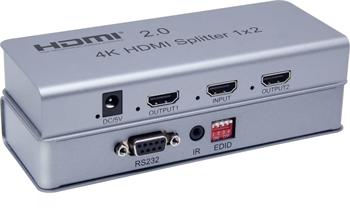 PremiumCord HDMI 2.0 splitter 1-2 porty, 4K x 2K/60Hz, FULL HD, 3D