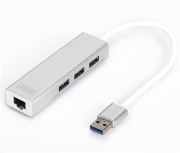 DA-70250-1 DIGITUS USB 3.0, 3-port HUB, Adaptér na Gigabit Ethernet ,1x RJ45, 10/100/1000Mbps