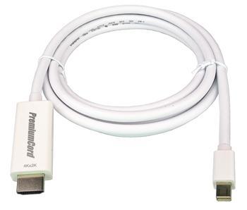 PremiumCord mini DisplayPort 1.2 na HDMI 2.0 kabel pro rozlišení 4Kx2K@60Hz, 1m