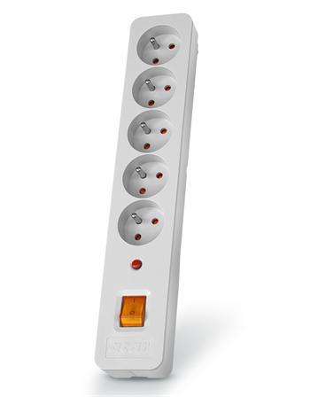 ppacarx5-5 Acar X5 5m kabel, 5 zásuvek, přepěťová ochrana, bílá