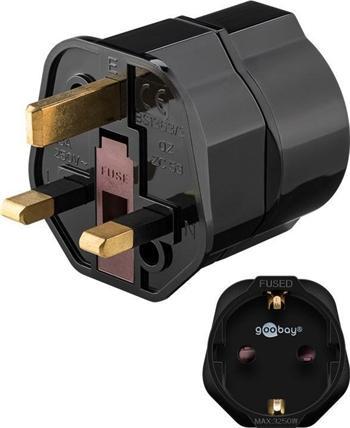 ppadapter-121 goobay Cestovní adaptér pro UK zásuvku a spotřebiče s českou zástrčkou a zemnícím kolíkem