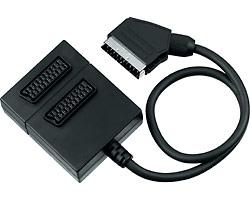 kjsa-04 PremiumCord Adapter SCART-2xSCART F, kabel 0,5m