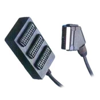 kjsa-05 PremiumCord Adapter SCART-3xSCART F, kabel 0,4m