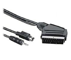 PremiumCord Kabel S-video + 3,5mm stereojack na SCART 5m + kondenzátor